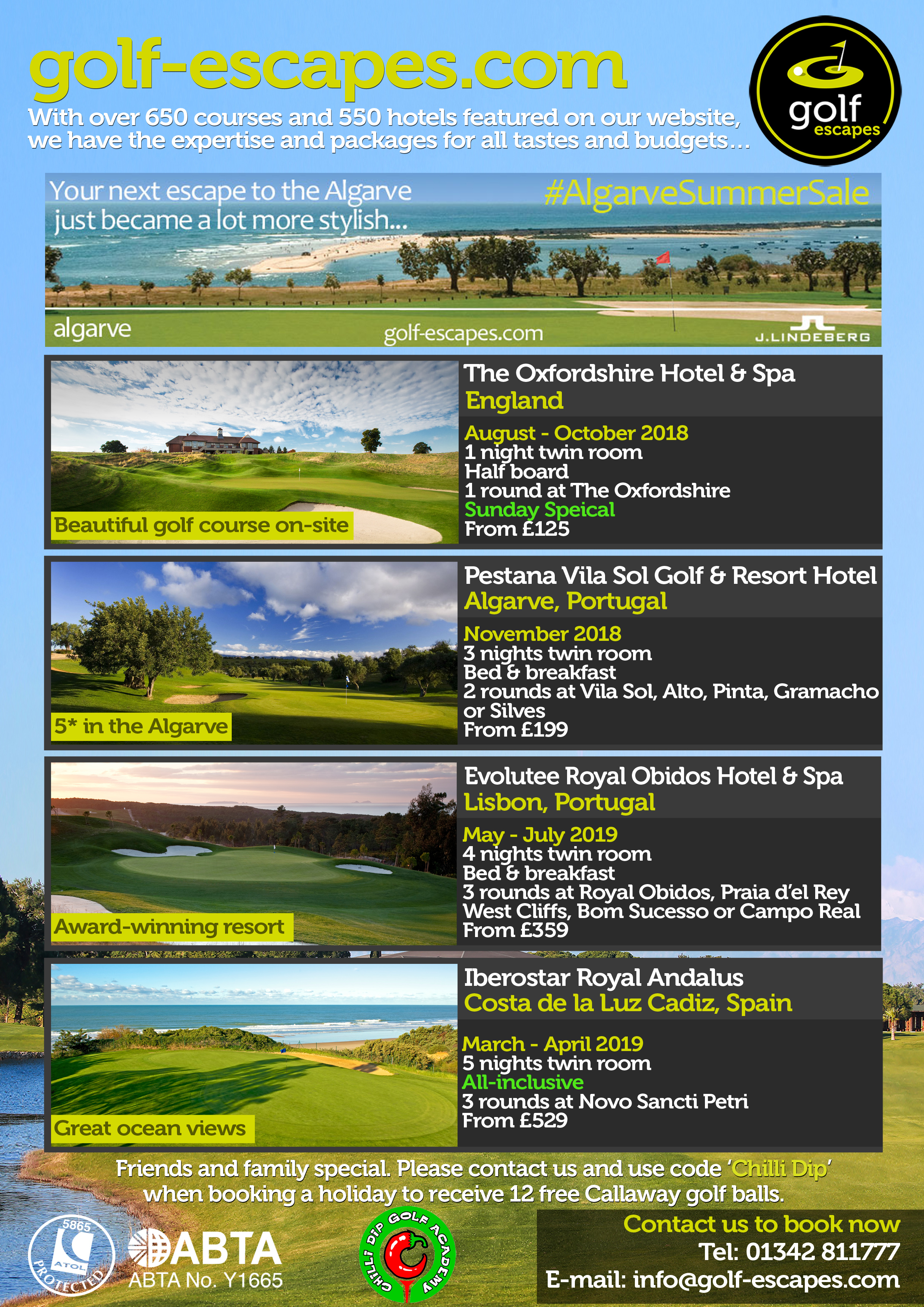 Golf Escapes & Chilli Dip Golf - Special Offers for July